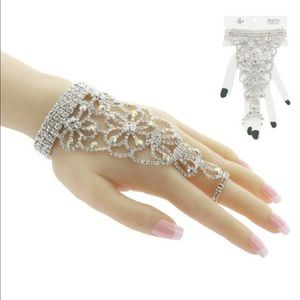 Jewelry - Stretch Rhinestone Slave Bracelet, Hand Chain-